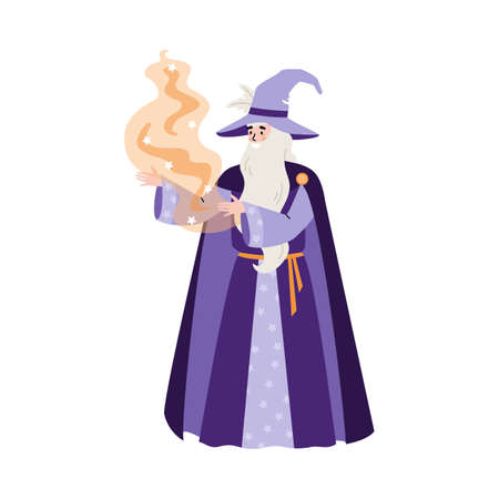 Wizard or sorcerer casts with magic powder, flat vector illustration isolated.