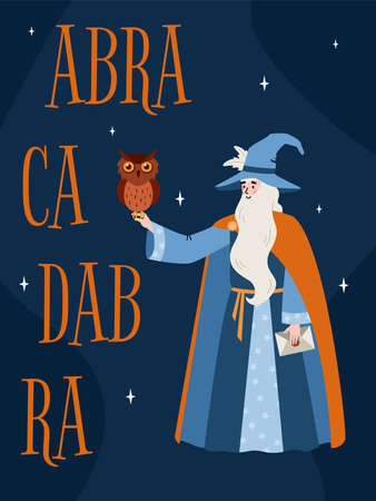 Banner with magician and magic abracadabra spell, flat vector illustration.