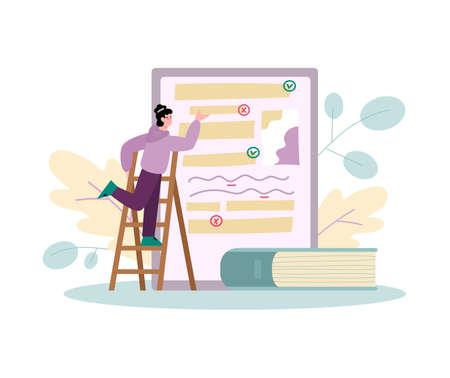 Tiny man editing electronic document, cartoon vector illustration isolated. Vecteurs