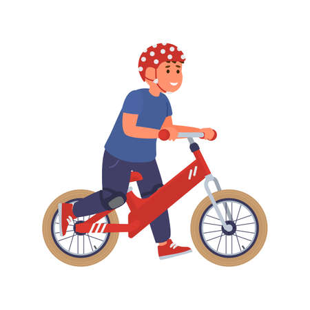 Cute happy kid boy in safety helmet with run bike a vector isolated illustration