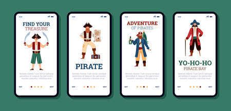 Set of mobile phone screens for games apps with sailor pirate characters.