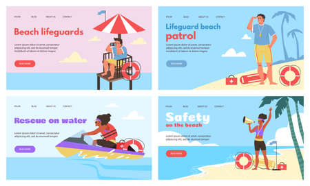 Web banners for beach lifeguards and water rescue, flat vector illustration.