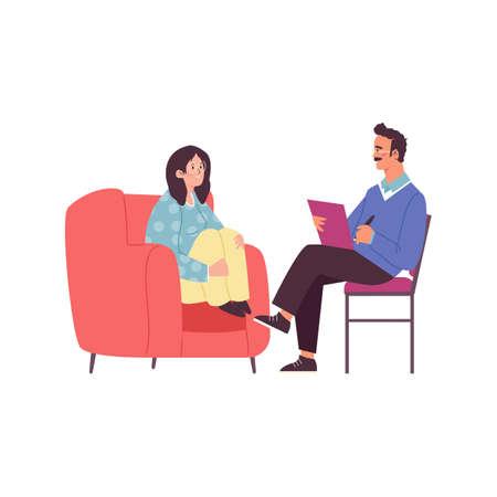 Woman taking psychologists consultation, flat vector illustration isolated. Vektorové ilustrace