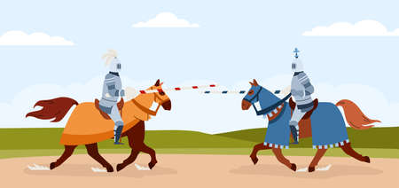 Knights tournament of horsemen armed with lances, flat vector illustration.