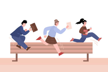 Purposeful business people jumping over barrier, vector illustration isolated. 矢量图片