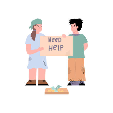 Poor children begging for help and donation cartoon vector illustration isolated.