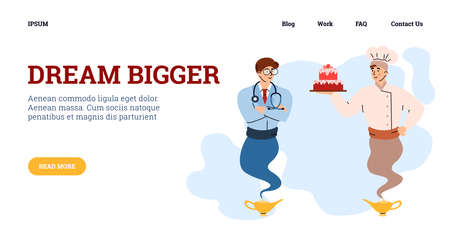 Web banner with professionals looking like genie, flat vector illustration.