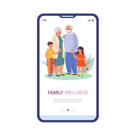 Mobile phone screen with happy elderly grandparent and grandchildren hug together Ilustração Vetorial