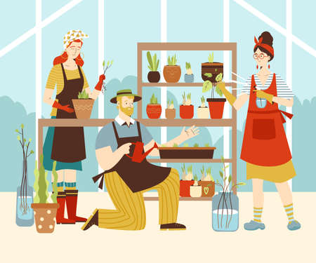 Greenhouse or flower shop with people grow plants, flat vector illustration. Vectores
