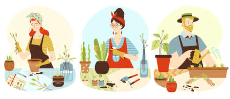 Set of people planting home garden flat vector illustration isolated on white. Vectores
