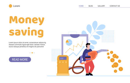 Web app with concept fuel price and economy money at petrol a vector illustration