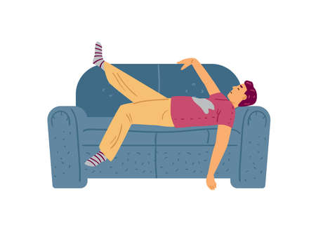 Lazy or tied man sleeping on couch, flat vector illustration isolated on white.
