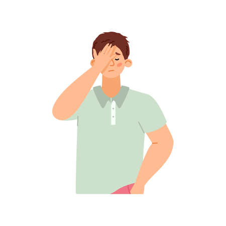 Ashamed or disappointed man covering his face, flat vector illustration isolated.