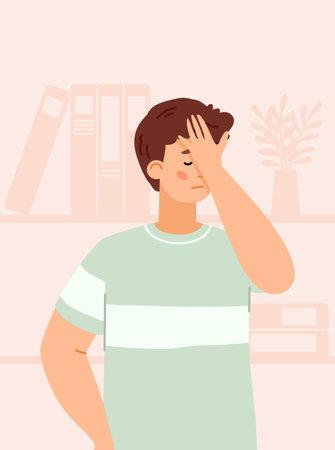 Man feeling sadness of disappointment or fail, flat vector illustration. Vektorové ilustrace