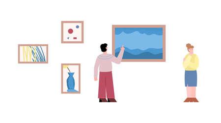 Art museum visitors enjoying oil painting, flat vector illustration isolated.