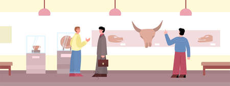 Visitors watching exhibition in museum of ancient art flat vector illustration. Vector Illustration