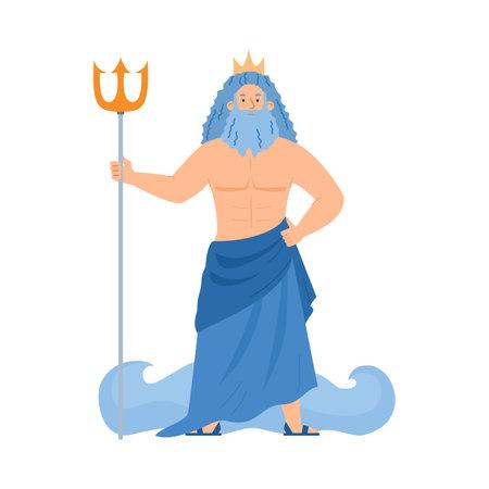 Greek god of sea Poseidon or roman Neptune flat vector illustration isolated.