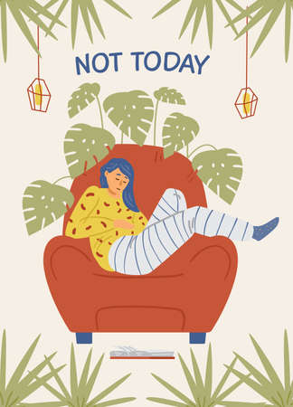Flat vector illustration of sad girl in red chair was left at home with text not today.