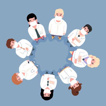 Hospital medical staff team standing looking up. Doctors nurses, surgeons cartoon characters making circle frame, flat vector illustration isolated on blue background. Ilustracje wektorowe
