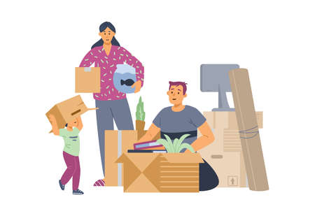 Family packing things for moving to new house, flat vector illustration isolated.