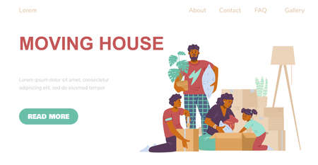 Vector design of web app for relocation services of family at new home