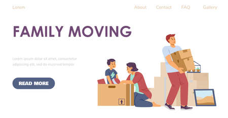 Family moving web page with cartoon characters, flat vector illustration. Vectores