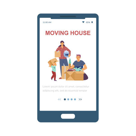 Vector mobile phone app for relocation services of family at new home. Vectores