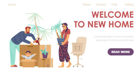Welcome to new home website with new settlers, flat vector illustration. Vectores