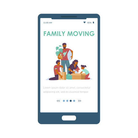 Family moving onboarding mobile app screen design, flat vector illustration. Vectores