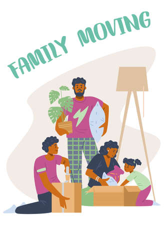 Family moving banner or poster, card template, flat vector illustration.