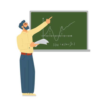 Male school teacher or university professor pointing on green board.