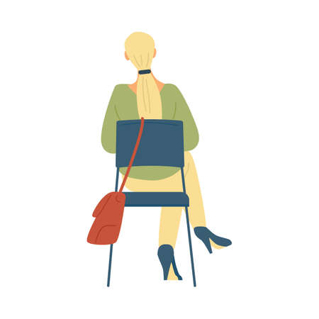 Casual woman with long blonde hair sitting on chair in flat vector illustration