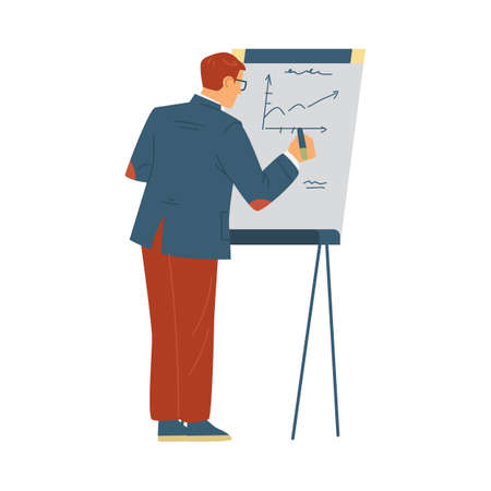 Trainer or coacher near presentation board, flat vector illustration isolated. Vectores