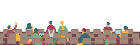 Rear view of people in presentation room, flat vector illustration isolated.