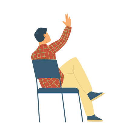 View on back young man sitting on chair and raising hand up a vector illustration Ilustración de vector