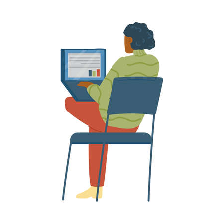 Back view of student of training with laptop, flat vector illustration isolated.