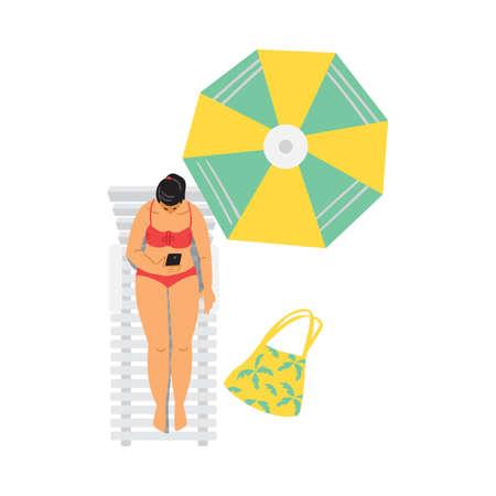 Young woman in bikini relax sunbathing near swimming pool or on beach. Vectores