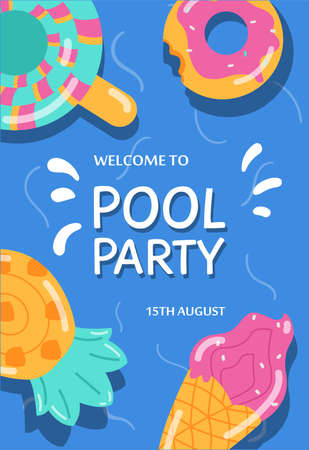 Summer pool party banner or invitation with lifebuoys, flat vector illustration.