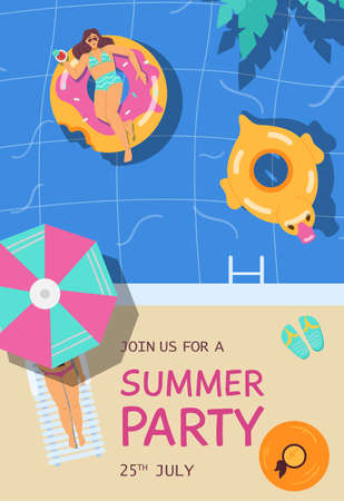 Summer party advertising banner or invitation, flat vector illustration. Vectores