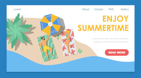 Summertime web banner with couple on beach, flat vector illustration. Vectores