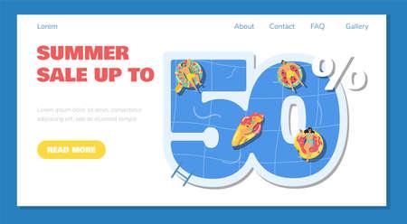 Summer 50 percent sale website banner template, flat vector illustration.