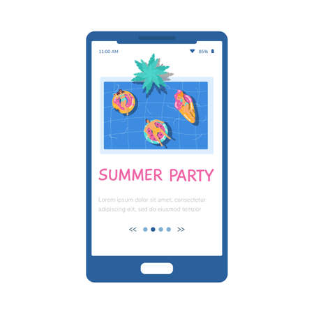 Summer pool party onboarding start screen interface, flat vector illustration.