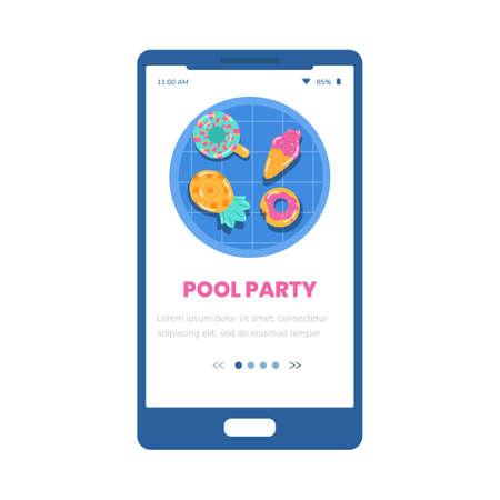 Pool party onboarding mobile phone page interface, flat vector illustration.