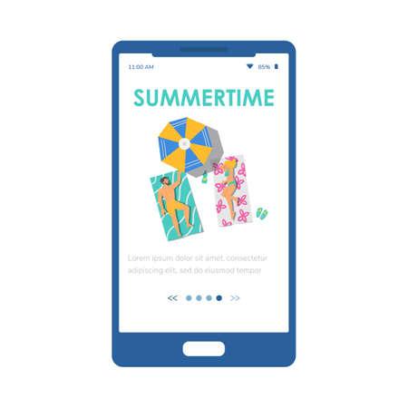 Summertime onboarding mobile phone page design, flat vector illustration.