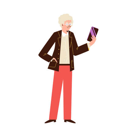 Elderly man standing and looking at phone, flat vector illustration isolated Vectores