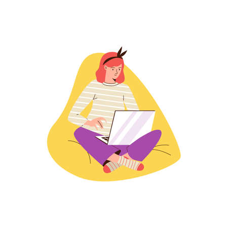Woman sitting in cozy chair with laptop, flat vector illustration isolated. Vectores
