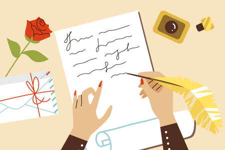 Table with human hands writing letter with feather pen, flat vector illustration. Vectores