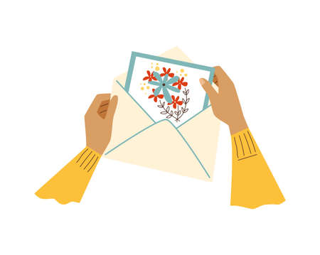 Hands putting postcard from mail envelope, flat vector illustration isolated. Vectores