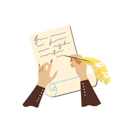 Female hands hold a pen and writes letter on paper sheet a vector illustration