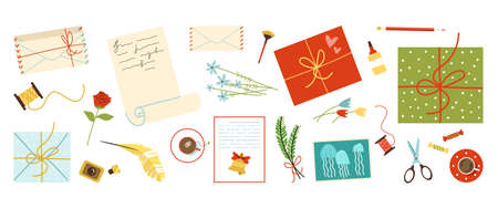Mail envelopes and postcards set, flat vector illustration isolated on white.